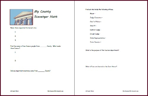 This printable county scavenger hunt was a great addition to a unit study about our state.