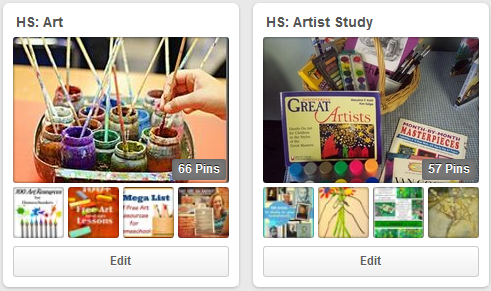 Cindy West's art boards will give your homeschool plenty of ideas for art lessons!