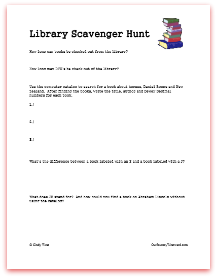 Library Scavenger Hunt Printable