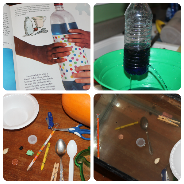 Water experiments as part of an ocean unit study
