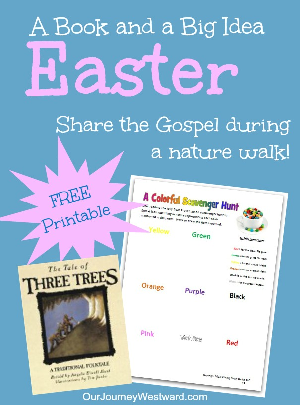 An Easter nature walk idea using The Tale of Three Trees {free printable}
