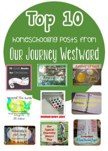 Our Journey Westward specializes in creative homeschooling with a Charlotte Mason flare. This is a list of her top 10 most-visited posts of 2014.