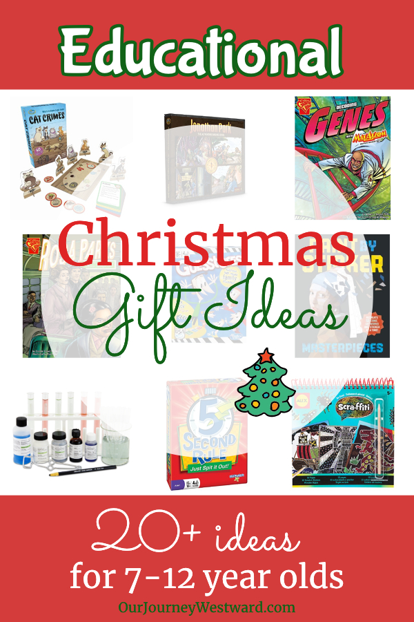 These educational Christmas gifts will be happy surprises under the tree for 7-12 year olds. #homeschool #Christmas #giftlist #giftideas #educationalgifts