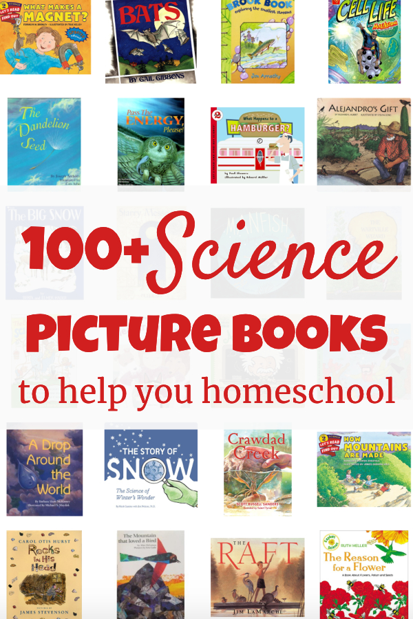 This gigantic list of science picture books is perfect to help you homeschool in the elementary years. #homeschool #science #picturebooks #livingbooks