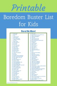"Kick boredom to the curb with this printable ""I'm Bored"" activity list for children 7+."