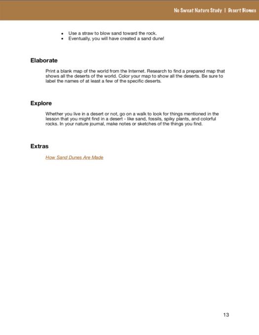 No Sweat Nature Study: Desert Biomes Science Curriculum