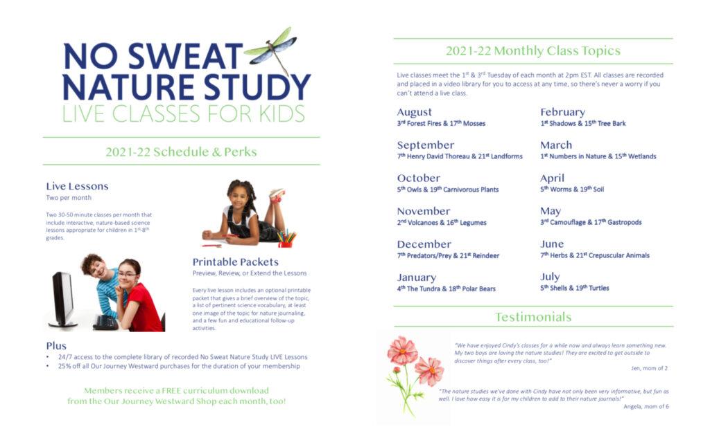 No Sweat Nature Study 2021-22 Class Schedule and Membership Perks