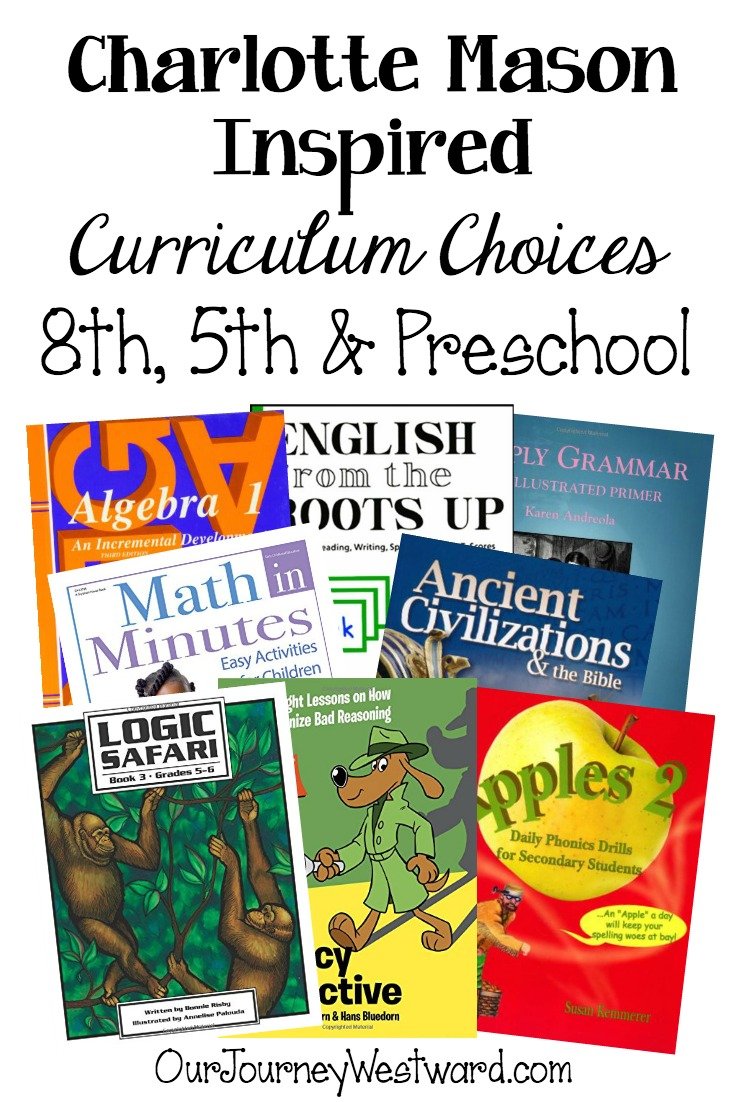 Charlotte Mason Homeschool Curriculum 8th, 5th and PK