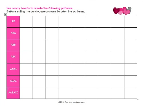 Create and document patterns using candy hearts and this free printable.