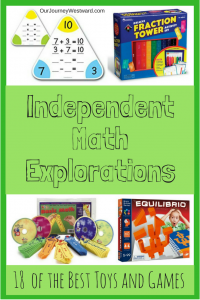 Your elementary students will love these independent math explorations. Math toys and math games make learning fun! #homeschool #math