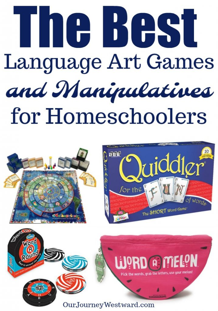 The best language arts games are educational AND fun. This list of board games, card games and manipulatives will motivate your students to practice language arts skills. #homeschool #languagearts #gameschooling