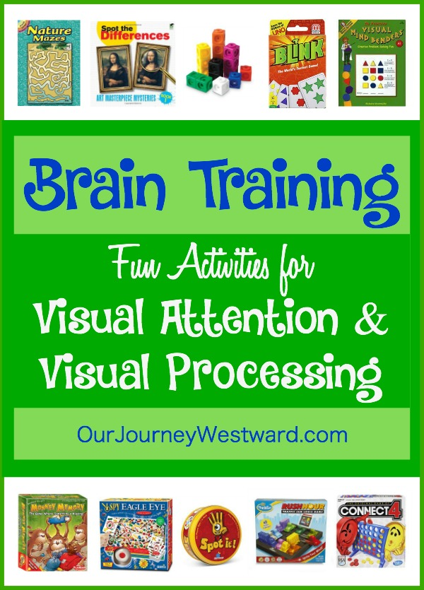 We love brain training activities! They have made such a difference in our homeschool. Here is a list of several activities we use to strengthen visual attention and visual processing.